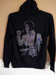 ELVIS ALOHA RHINESTONE LADIES ZIP-UP HOODIE JACKET