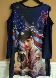 ELVIS ARMY COLD SHOULDER LADIES SHIRT